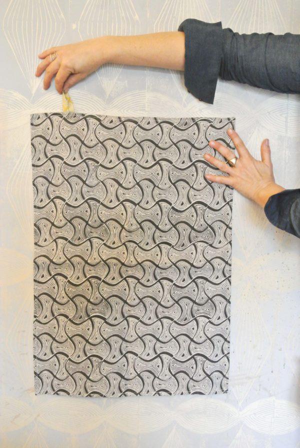 Tea towel in charcoal St Peter print