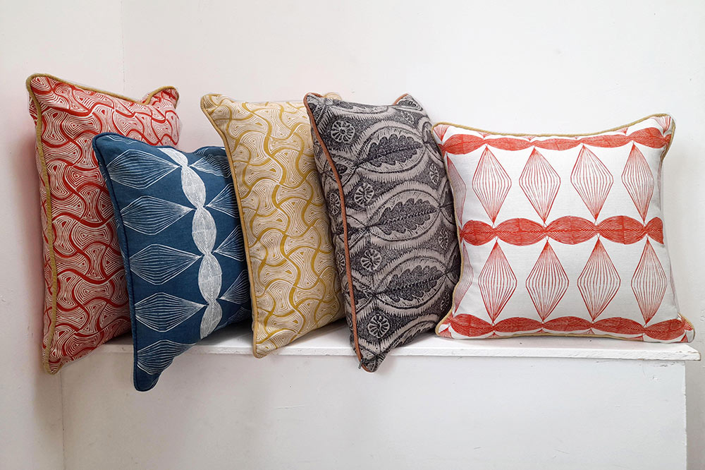 Hand printed fabric cushions by Sarah Burns Patterns