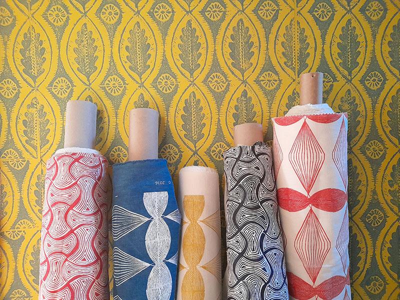Handprinted fabric by Sarah Burns Patterns