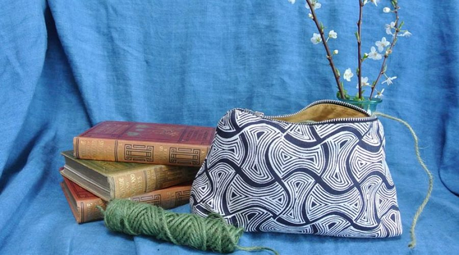Block print fabric accessories by Sarah Burns patterns